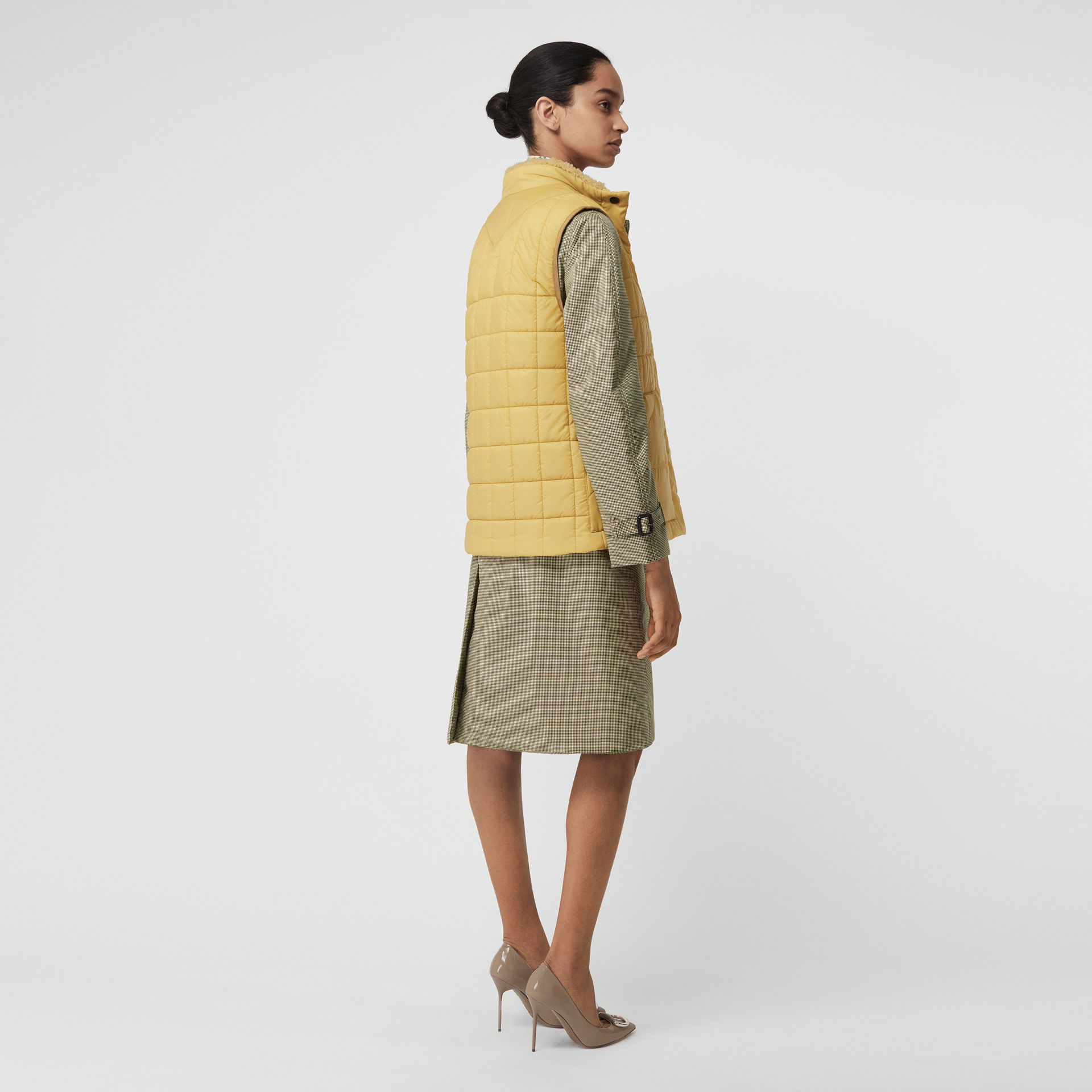 Faux Shearling Collar Lightweight Quilted Gilet in Yellow Quartz - Women | Burberry Australia - gallery image 2