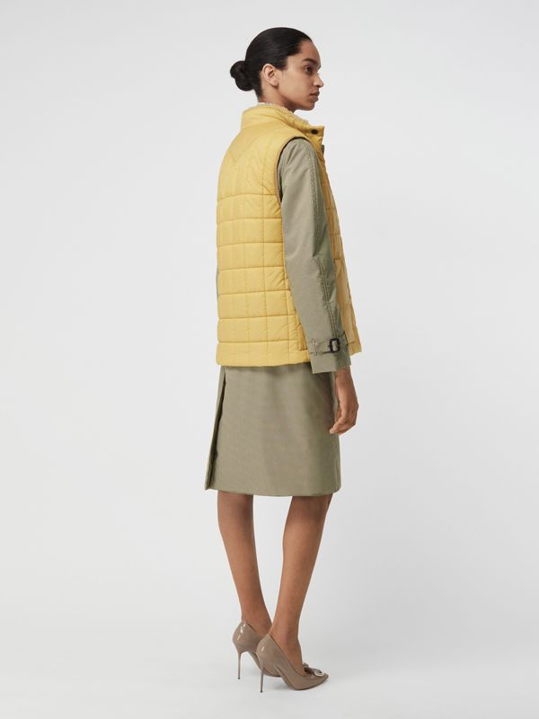 Faux Shearling Collar Lightweight Quilted Gilet in Yellow Quartz - Women | Burberry - cell image 2