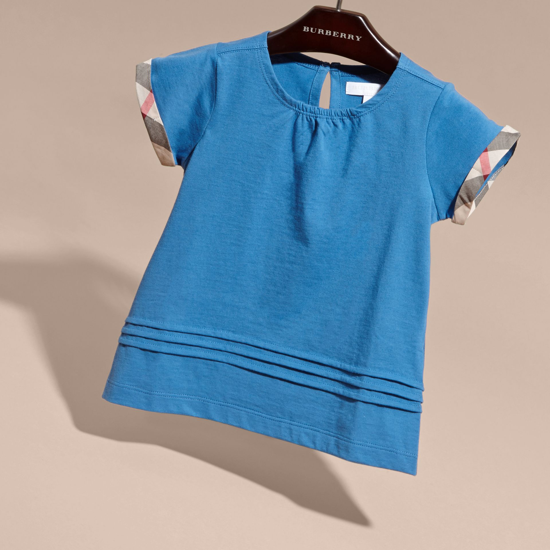 Pleat and Check Detail Cotton T-shirt Hydrangea Blue - gallery image 3