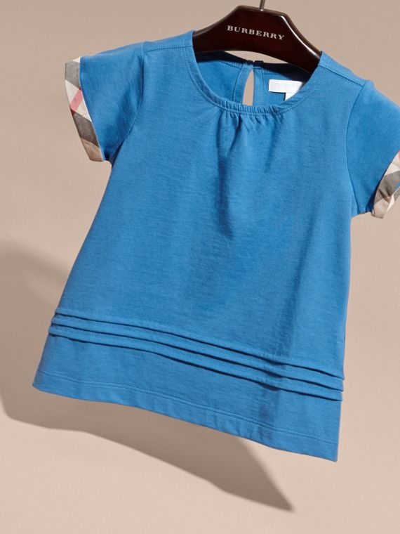 Pleat and Check Detail Cotton T-shirt Hydrangea Blue - cell image 2