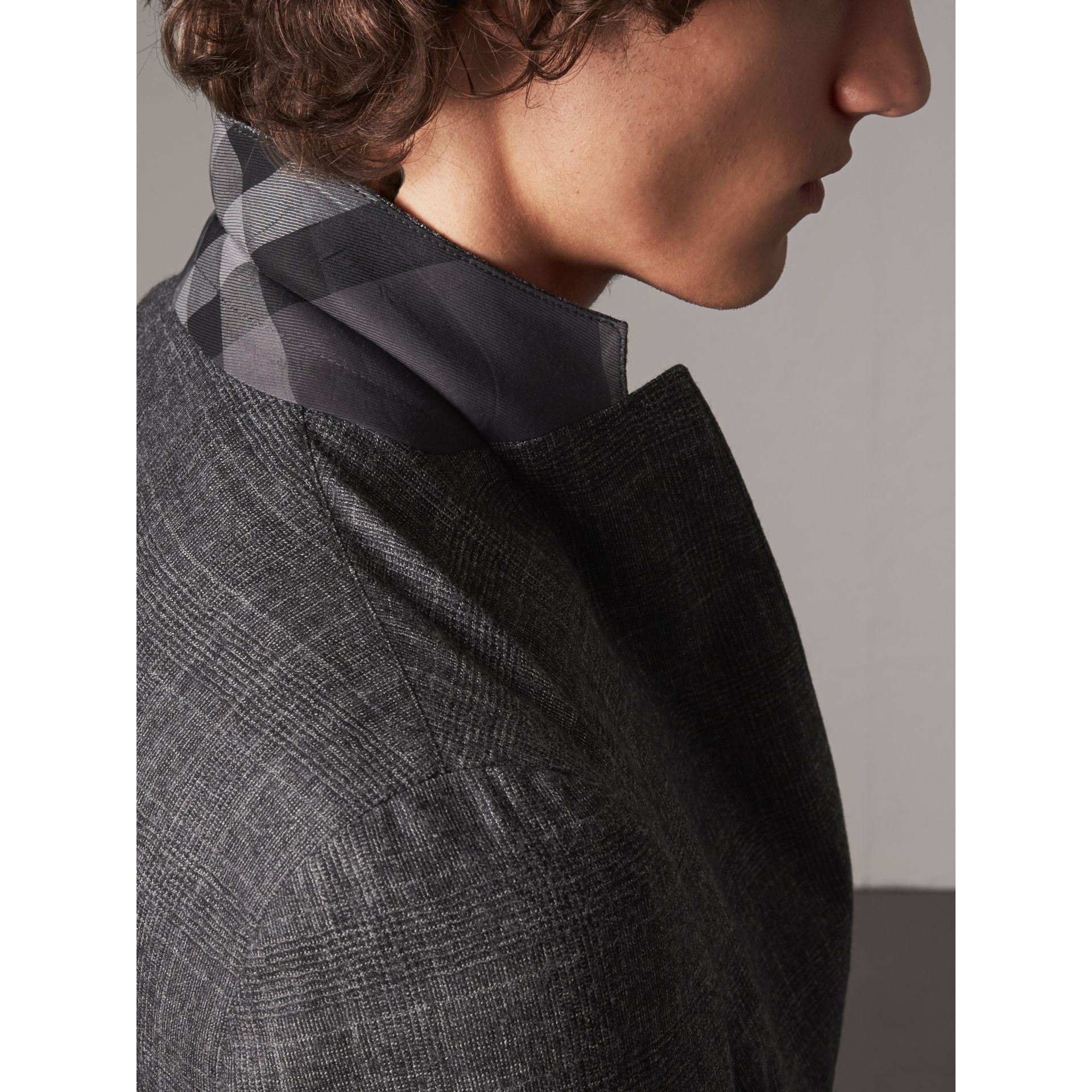 Soho Fit Check Wool Flannel Tailored Jacket in Dark Grey Melange - Men | Burberry - gallery image 5