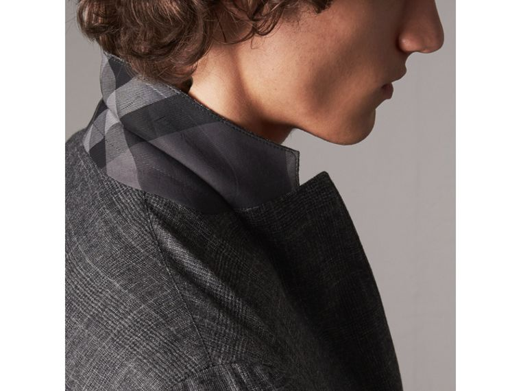 Soho Fit Check Wool Flannel Tailored Jacket in Dark Grey Melange - Men | Burberry - cell image 4