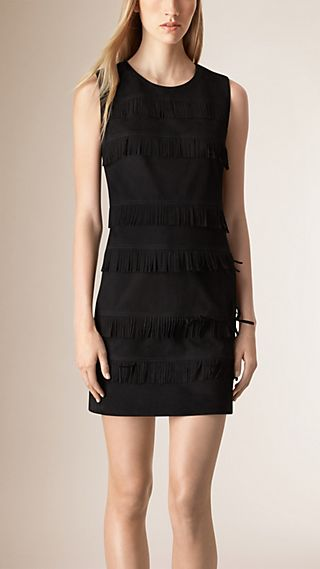 Fringed Suede Shift Dress