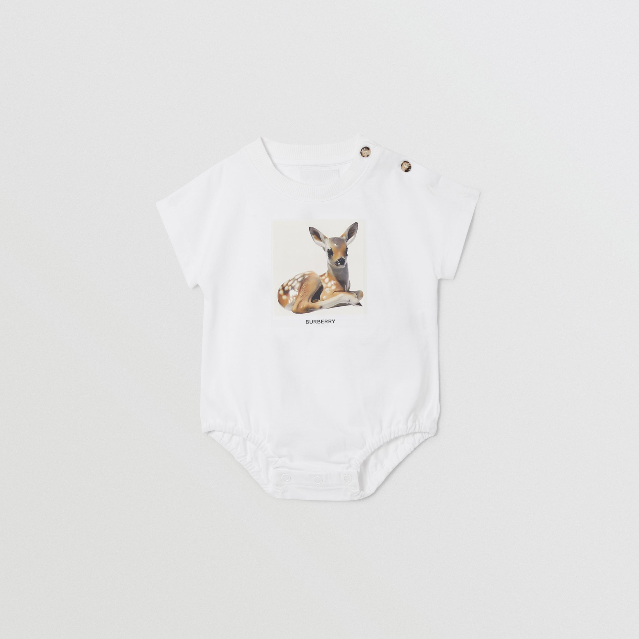 Deer Print Cotton Bodysuit in White - Children | Burberry - 1