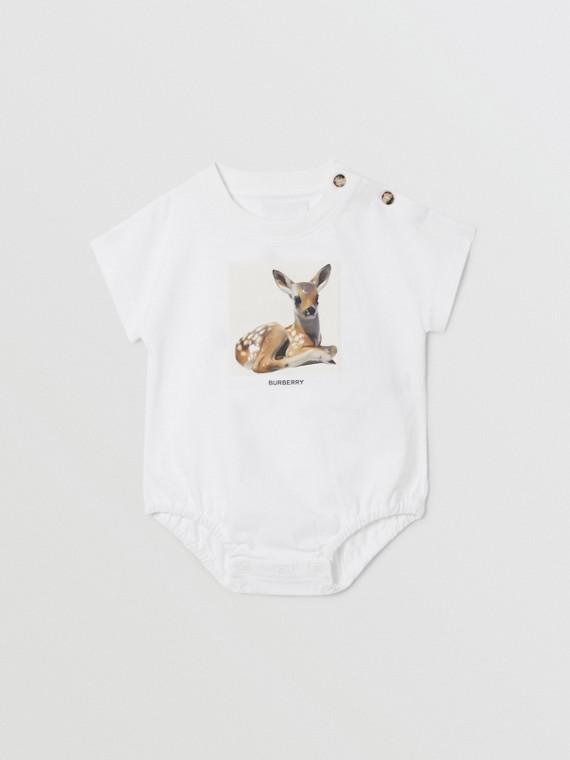 Deer Print Cotton Bodysuit in White