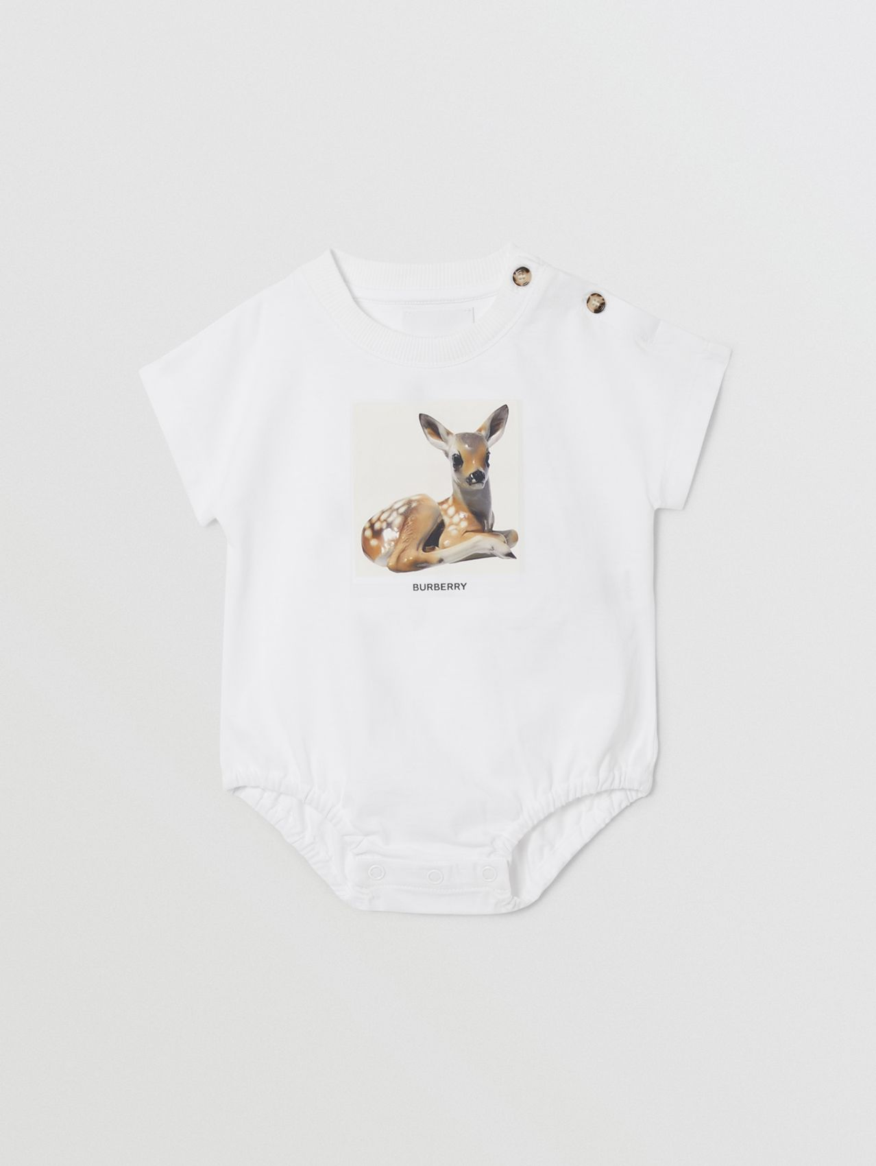 Deer Print Cotton Bodysuit in White