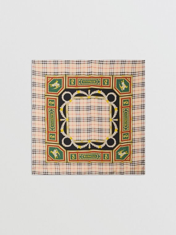 Check Archive Scarf Print Silk Square Scarf in Antique Yellow