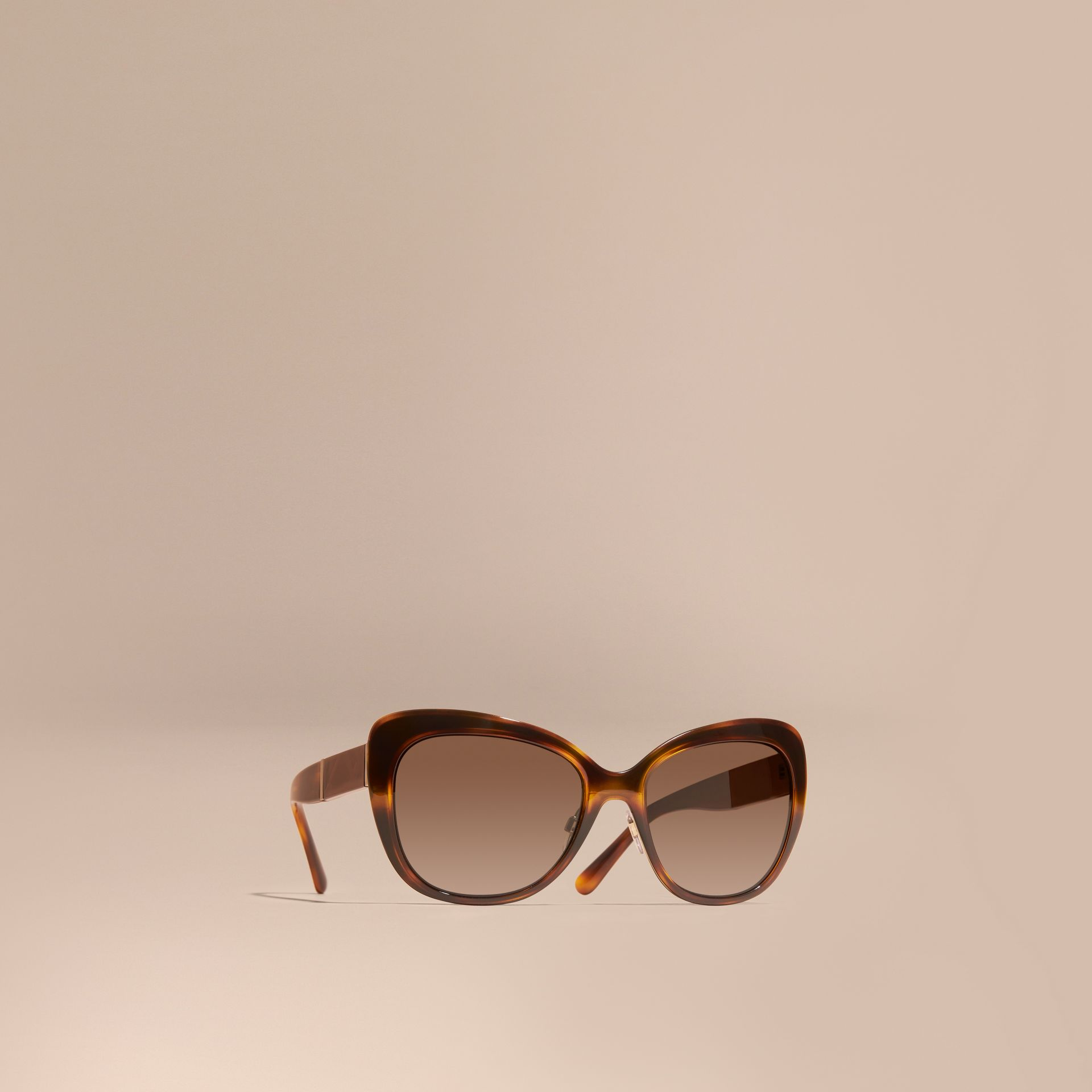 Light russet brown Check Detail Square Cat-eye Sunglasses - gallery image 1