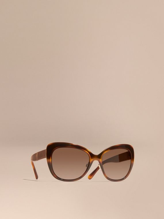 Eckige Cat-Eye-Sonnenbrille mit Check-Detail