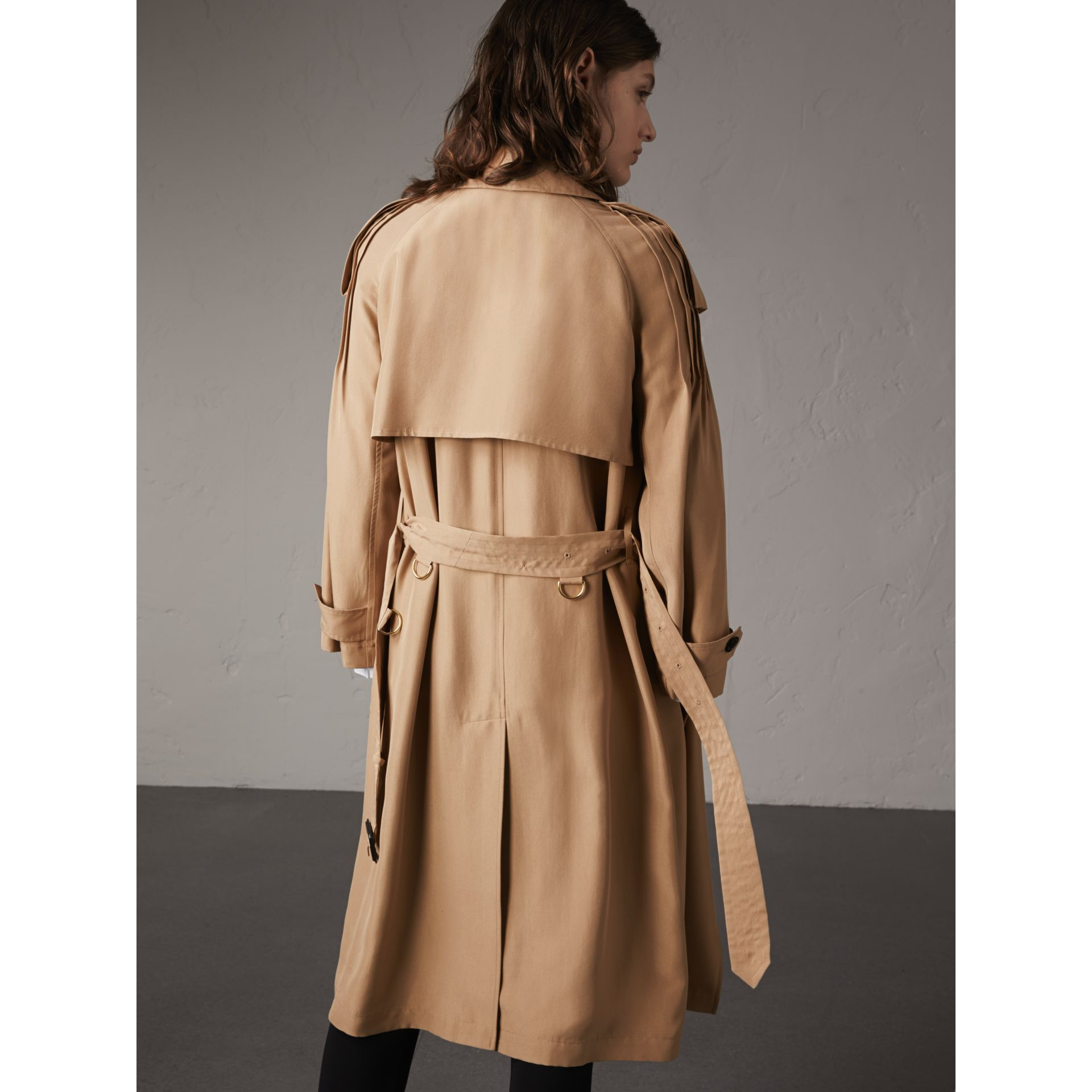 Ruffle Detail Silk Trench Coat in Honey - Women | Burberry - gallery image 3