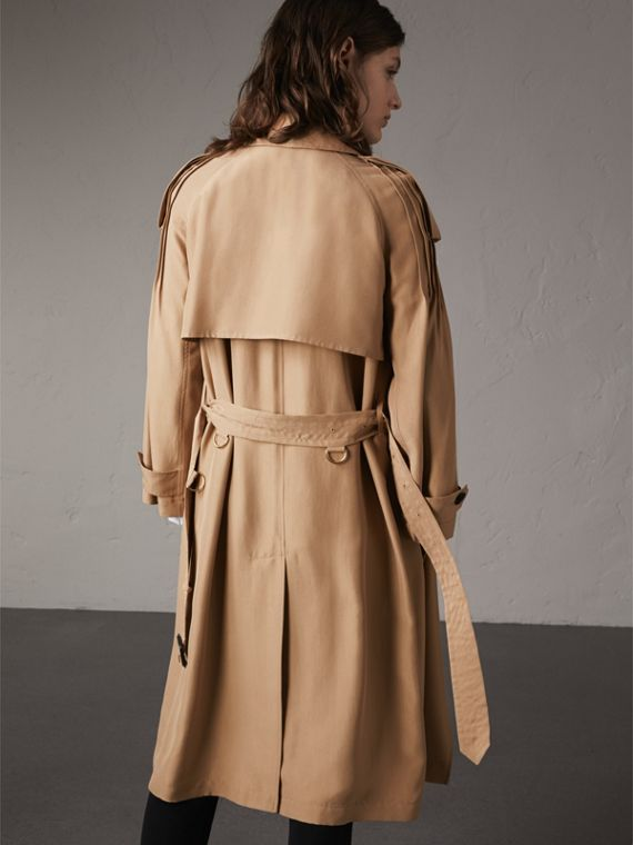 Ruffle Detail Silk Trench Coat in Honey - Women | Burberry - cell image 2