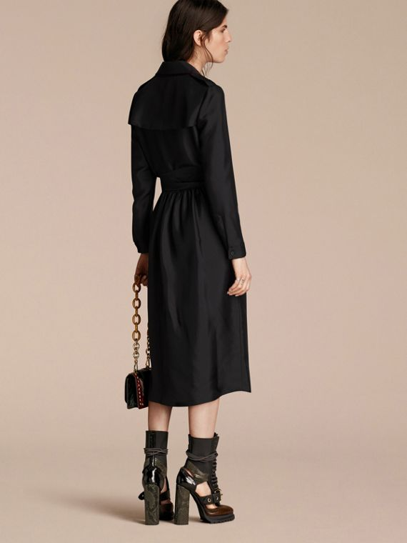 Black Silk Wrap Trench Dress with Military Piping - cell image 2