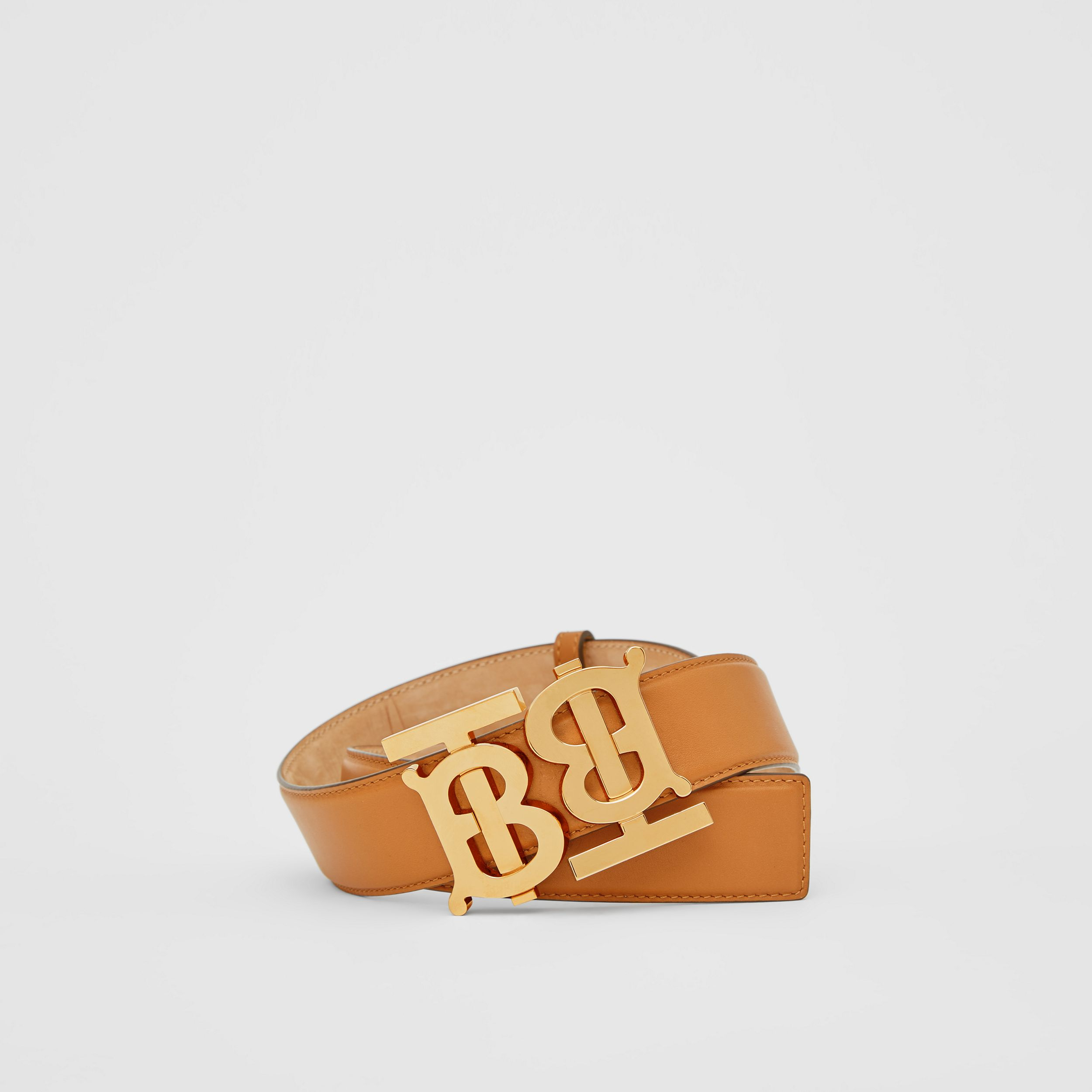 Double Monogram Motif Leather Belt in Warm Tan - Women | Burberry - 1