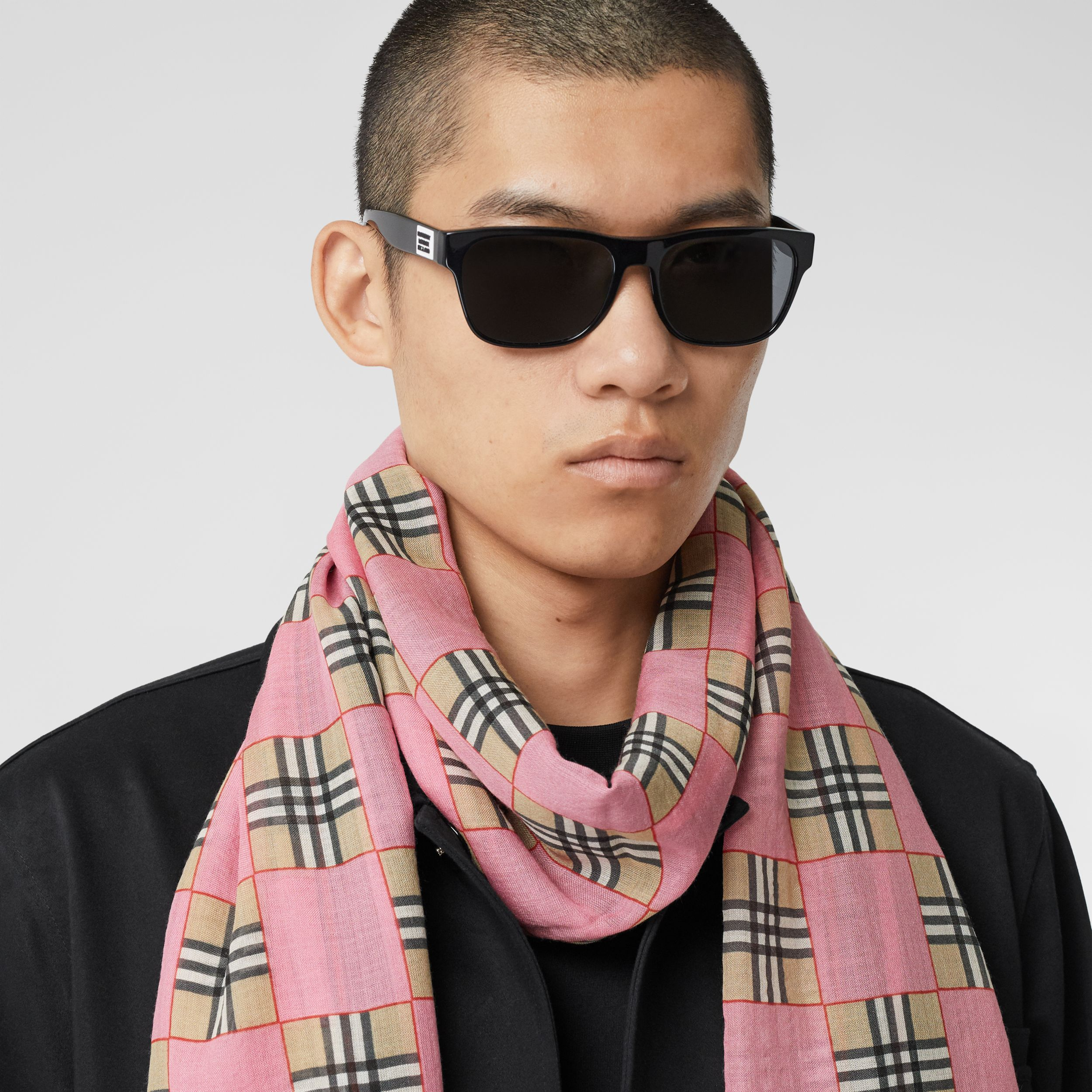 Chequer Print Wool Silk Scarf in Pink | Burberry - 4