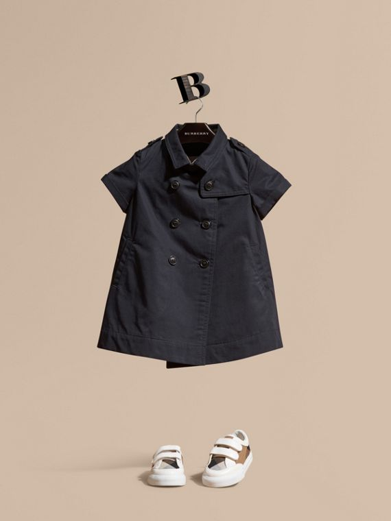 Cotton Trench Dress in Navy