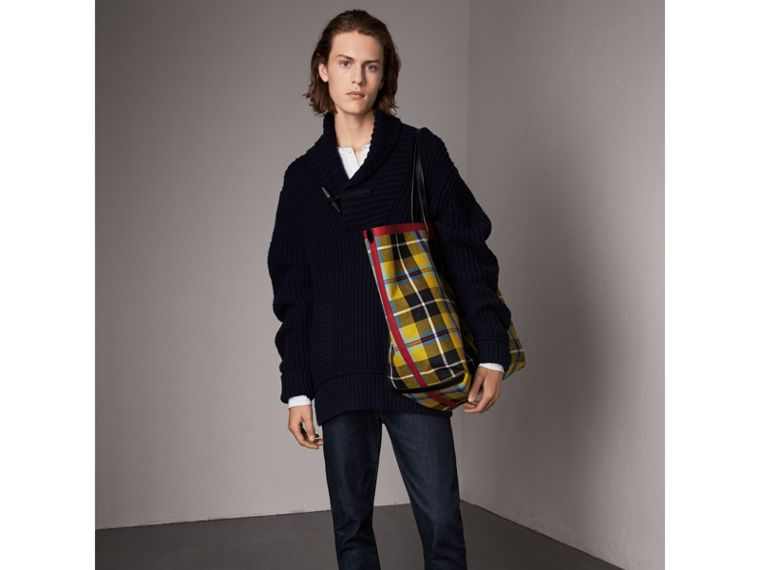 Shawl Collar Wool Cashmere Sweater in Navy - Men | Burberry Singapore - cell image 4