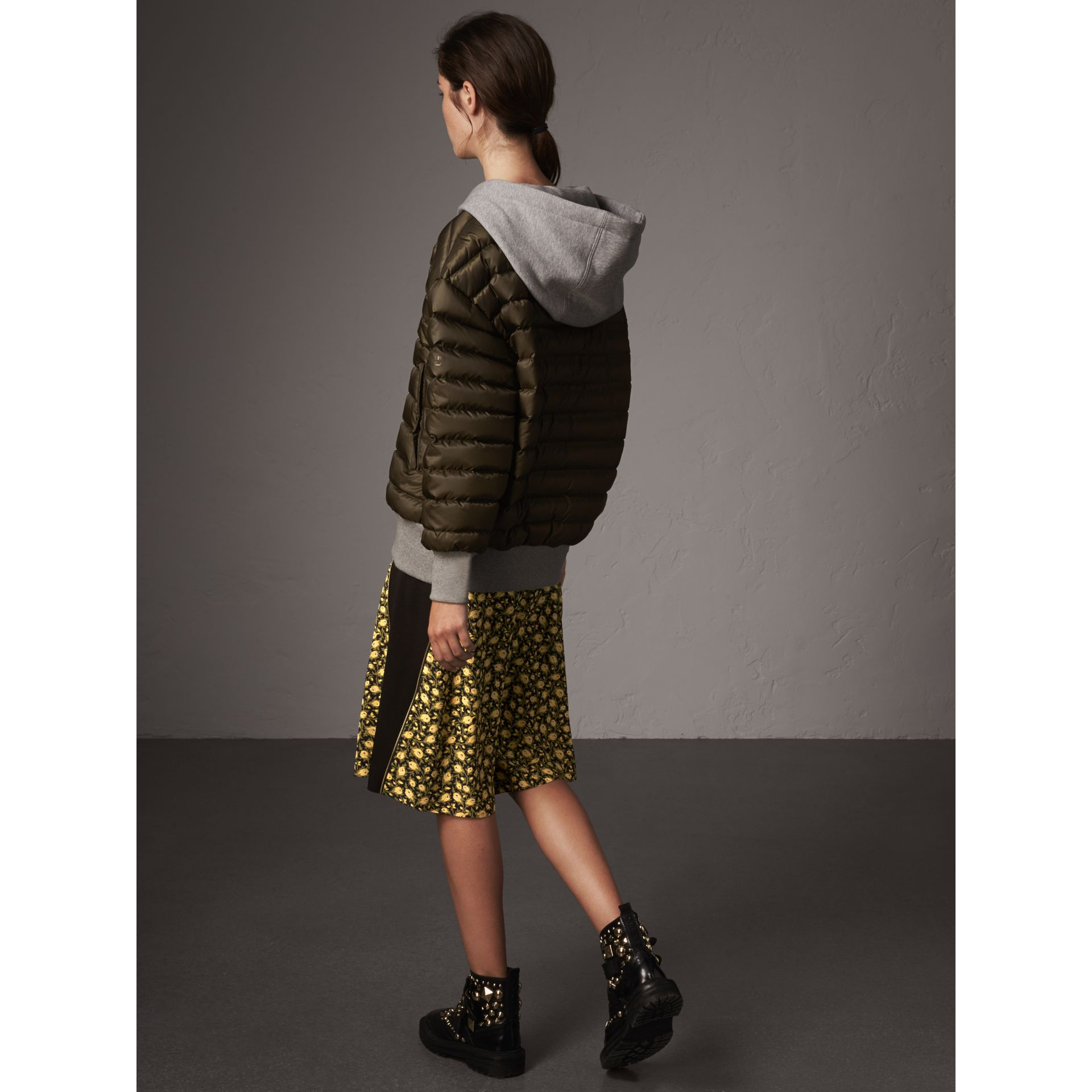 Reversible Down-filled Hooded Bomber Jacket in Olive - Women | Burberry Singapore - gallery image 3