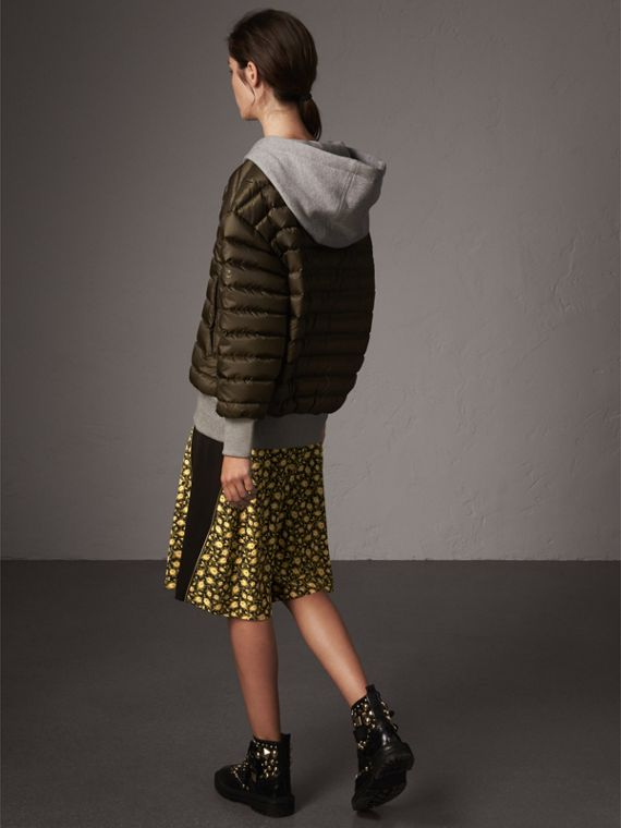Reversible Down-filled Hooded Bomber Jacket in Olive - Women | Burberry - cell image 2