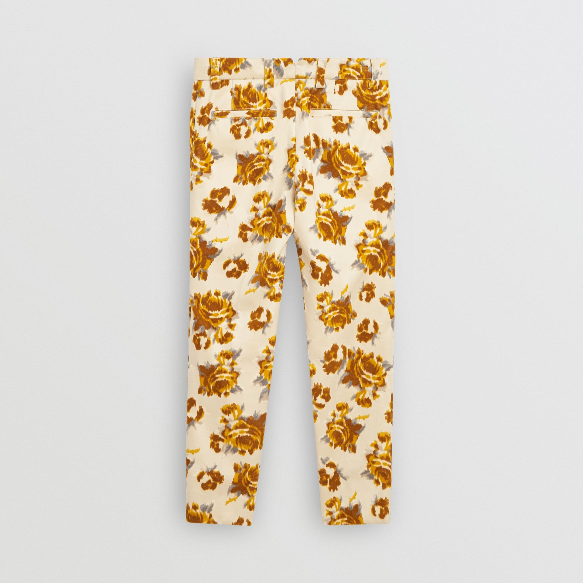 Floral Velvet Jacquard Trousers in Mustard Pattern - Children | Burberry - gallery image 3