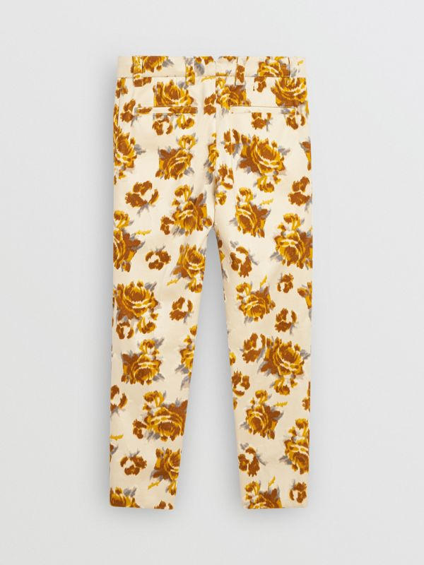 Floral Velvet Jacquard Trousers in Mustard Pattern | Burberry - cell image 3
