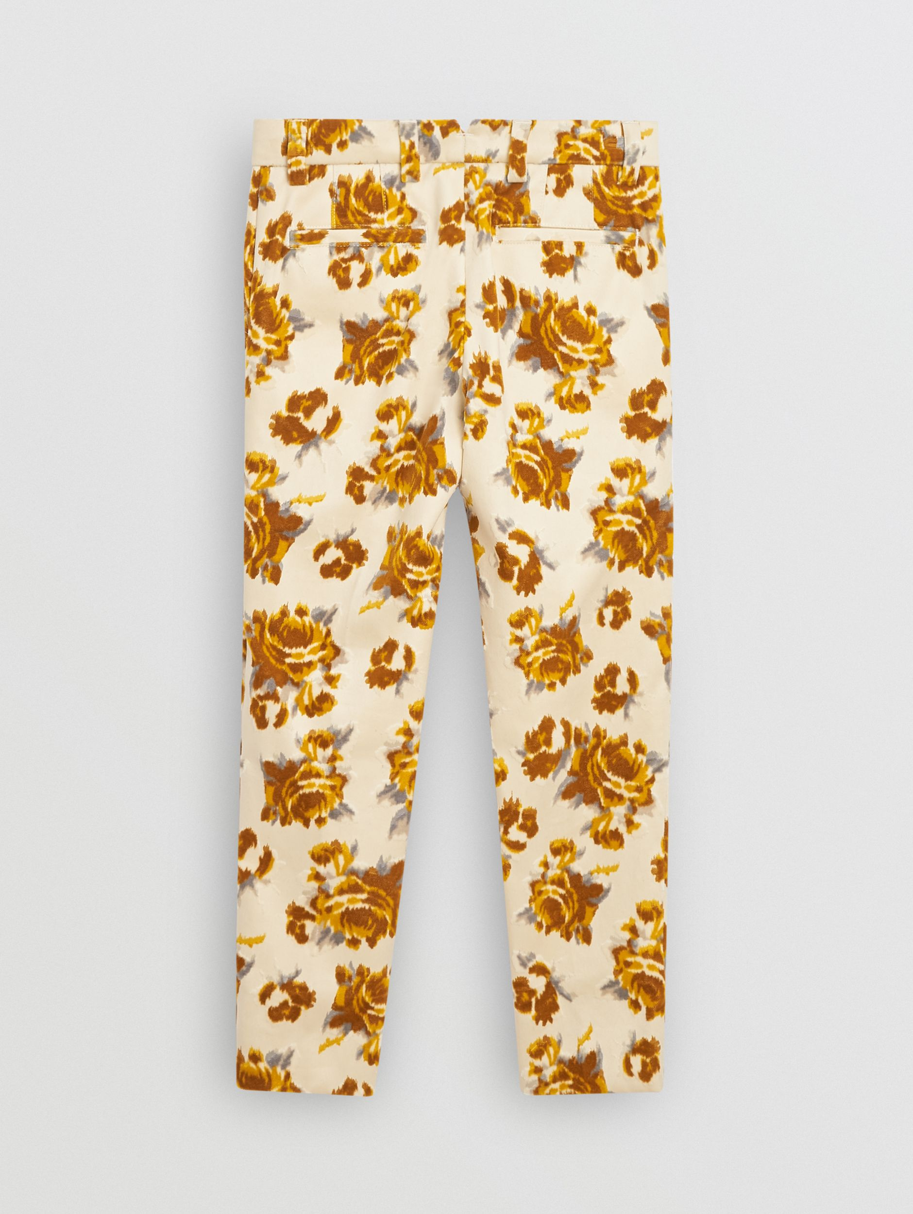 Floral Velvet Jacquard Trousers in Mustard Pattern - Children | Burberry - 4