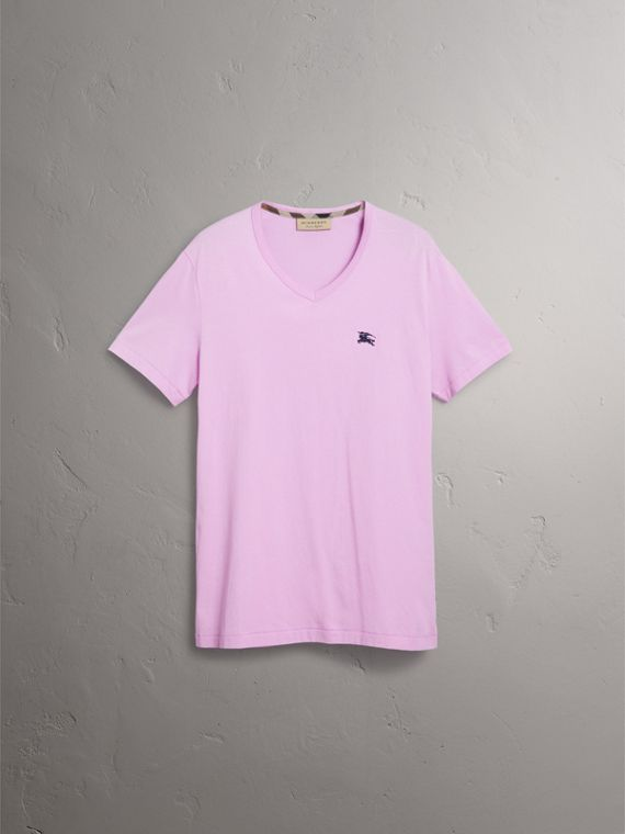 Cotton Jersey T-shirt in Pale Fuchsia - Men | Burberry United States - cell image 3