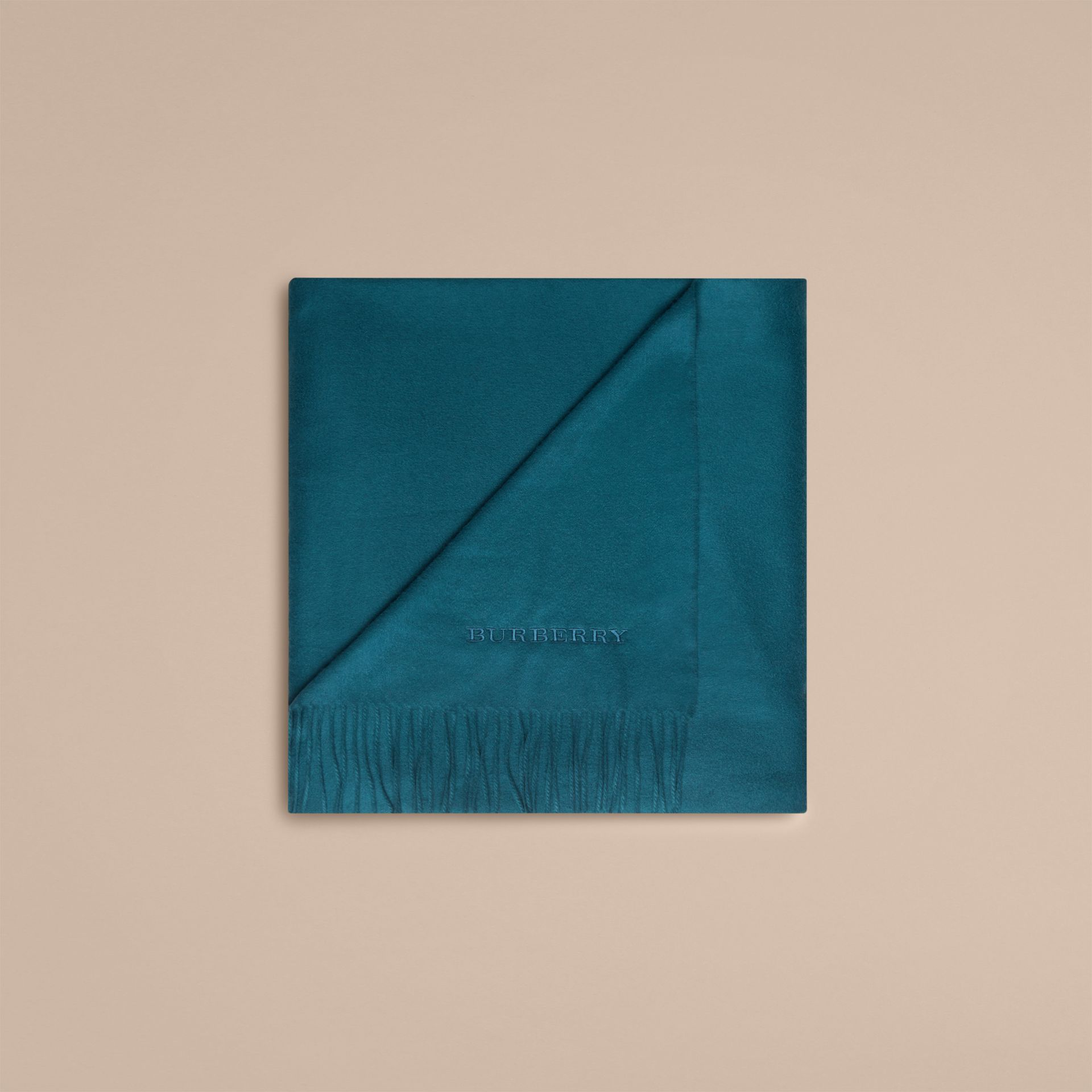 Cashmere Blanket in Dark Teal | Burberry United Kingdom - gallery image 3