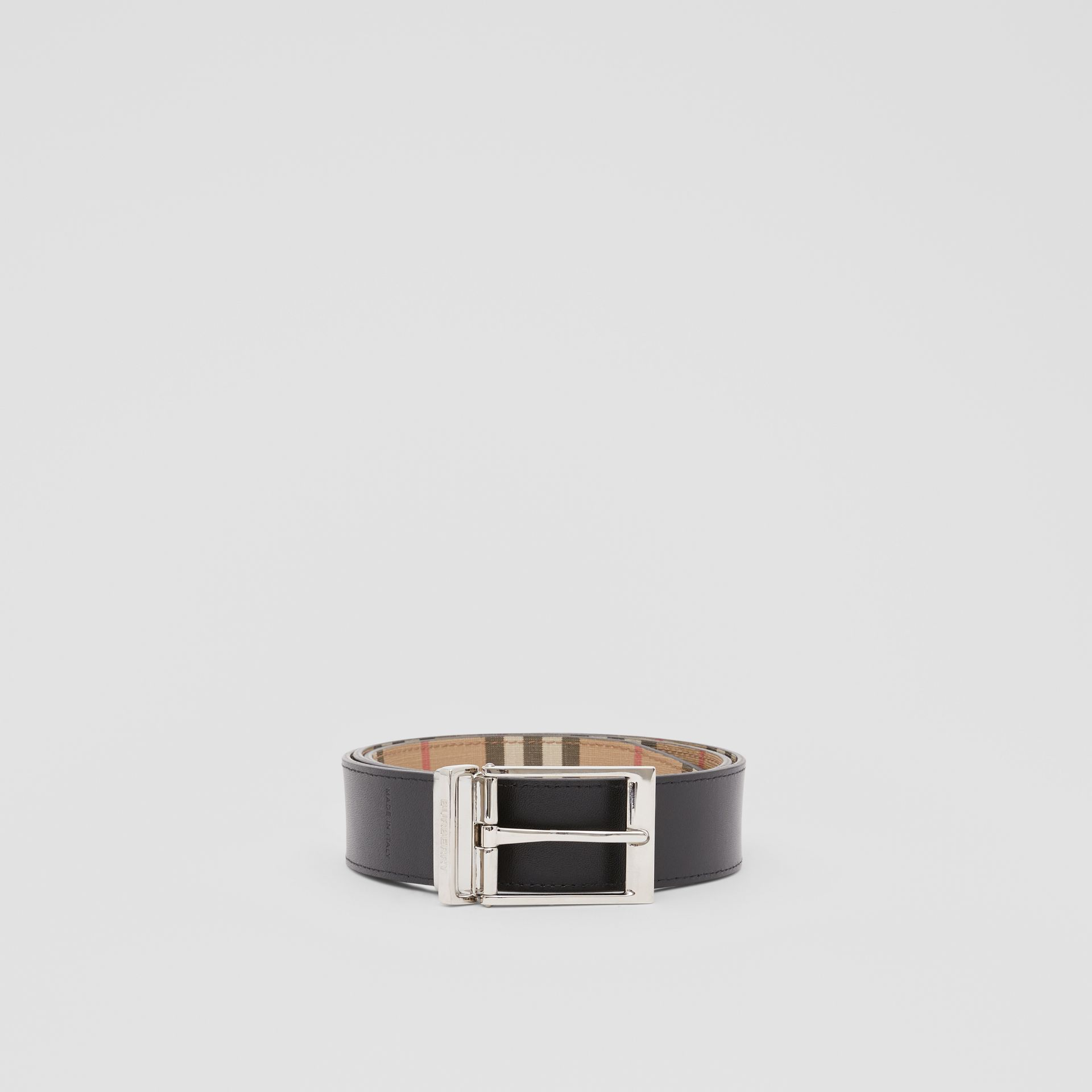 Reversible Vintage Check E-canvas and Leather Belt in Archive Beige/black - Men | Burberry - gallery image 4