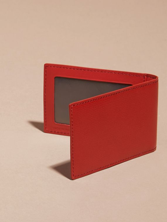Dark military red London Leather ID Wallet - cell image 3