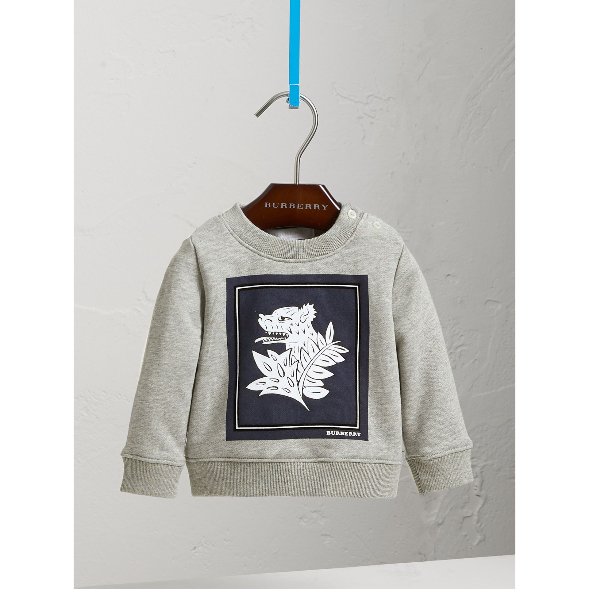 Beasts Print Cotton Sweatshirt in Deep Blue | Burberry Australia - gallery image 3