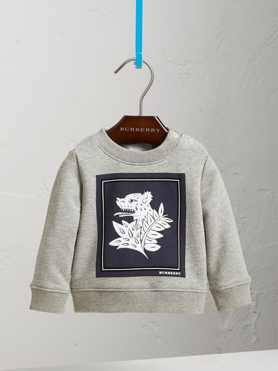 Beasts Print Cotton Sweatshirt in Deep Blue | Burberry Australia - cell image 2