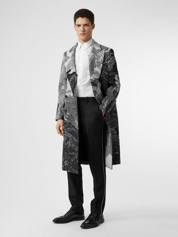Soho Fit Bullion Stripe Wool Twill Tailored Trousers in Black