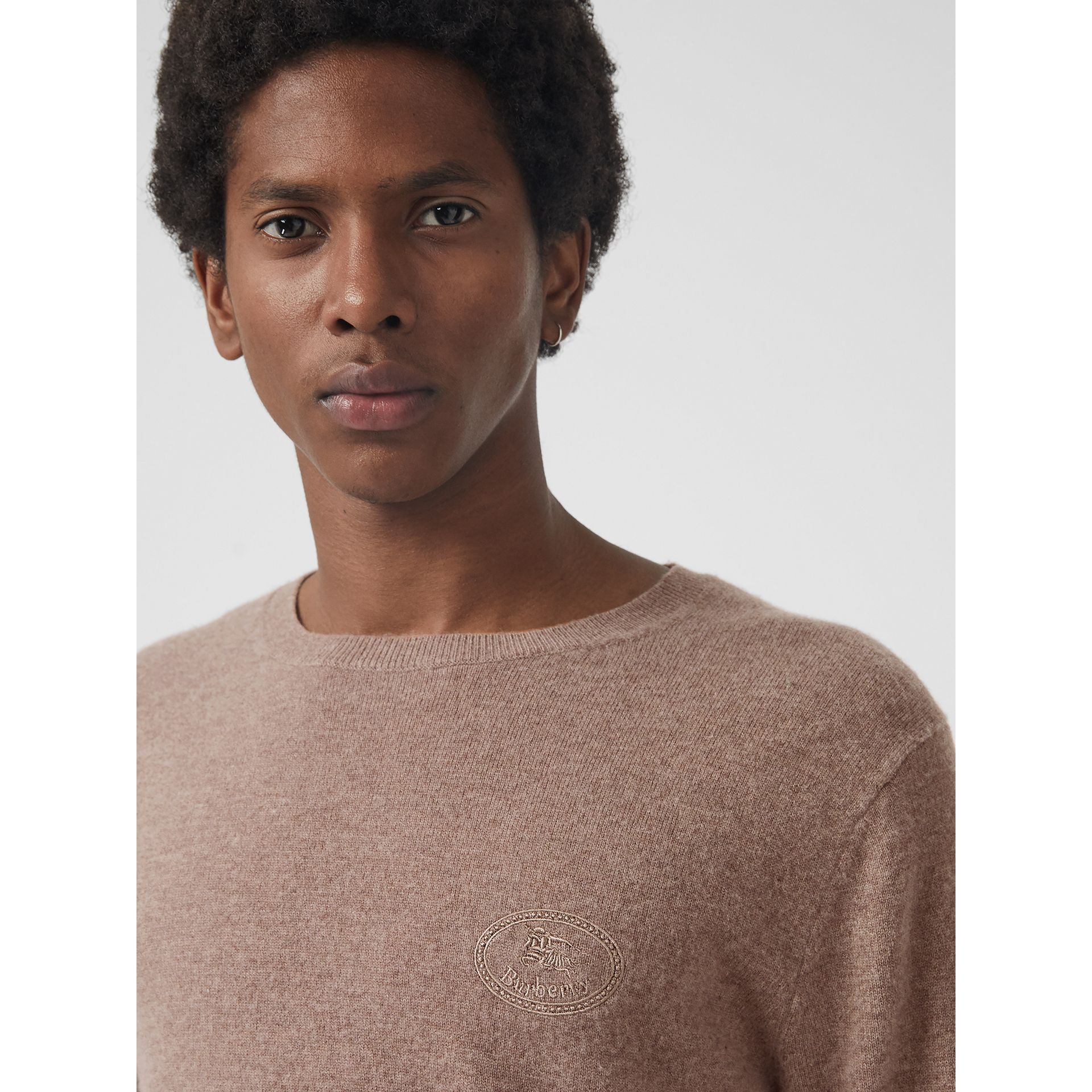 Embroidered Archive Logo Cashmere Sweater in Camel Melange - Men | Burberry Canada - gallery image 1