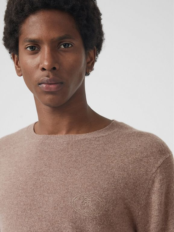 Embroidered Archive Logo Cashmere Sweater in Camel Melange - Men | Burberry Australia - cell image 1
