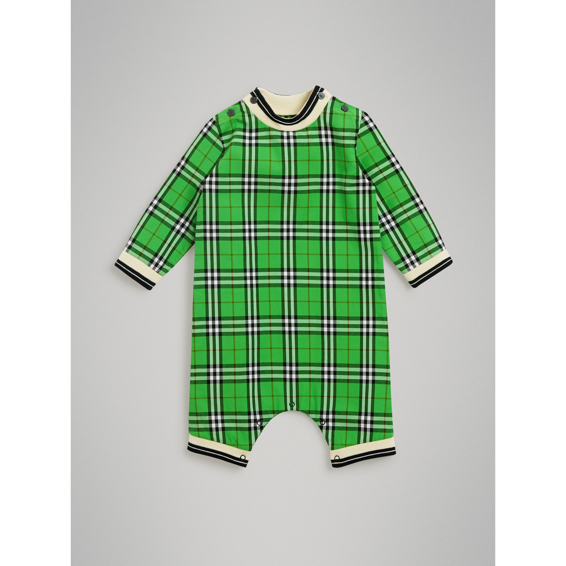 Check Cotton Jumpsuit in Bright Grass Green - Children | Burberry United Kingdom - gallery image 0
