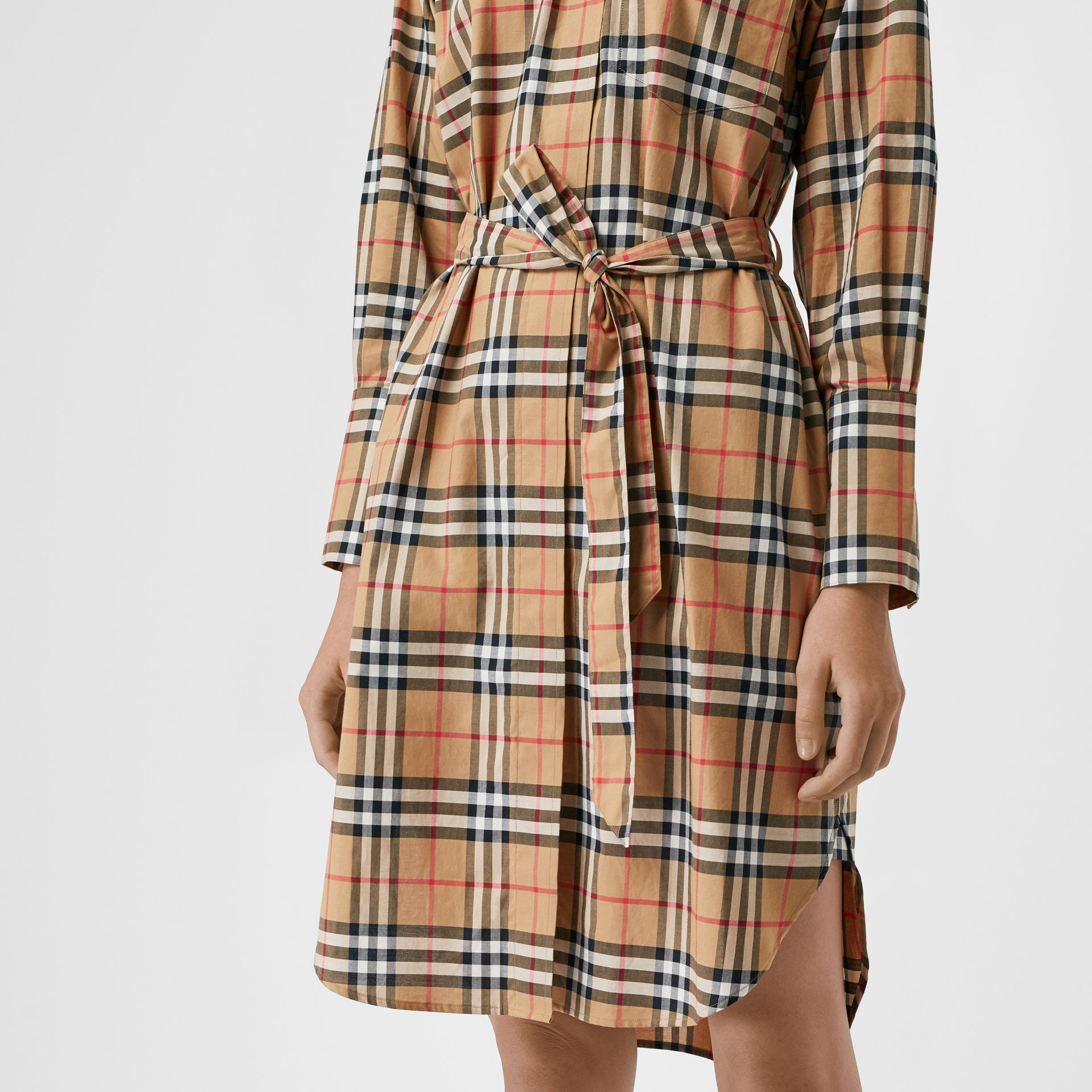 Vintage Check Cotton Tie-waist Shirt Dress in Antique Yellow - Women | Burberry - gallery image 4