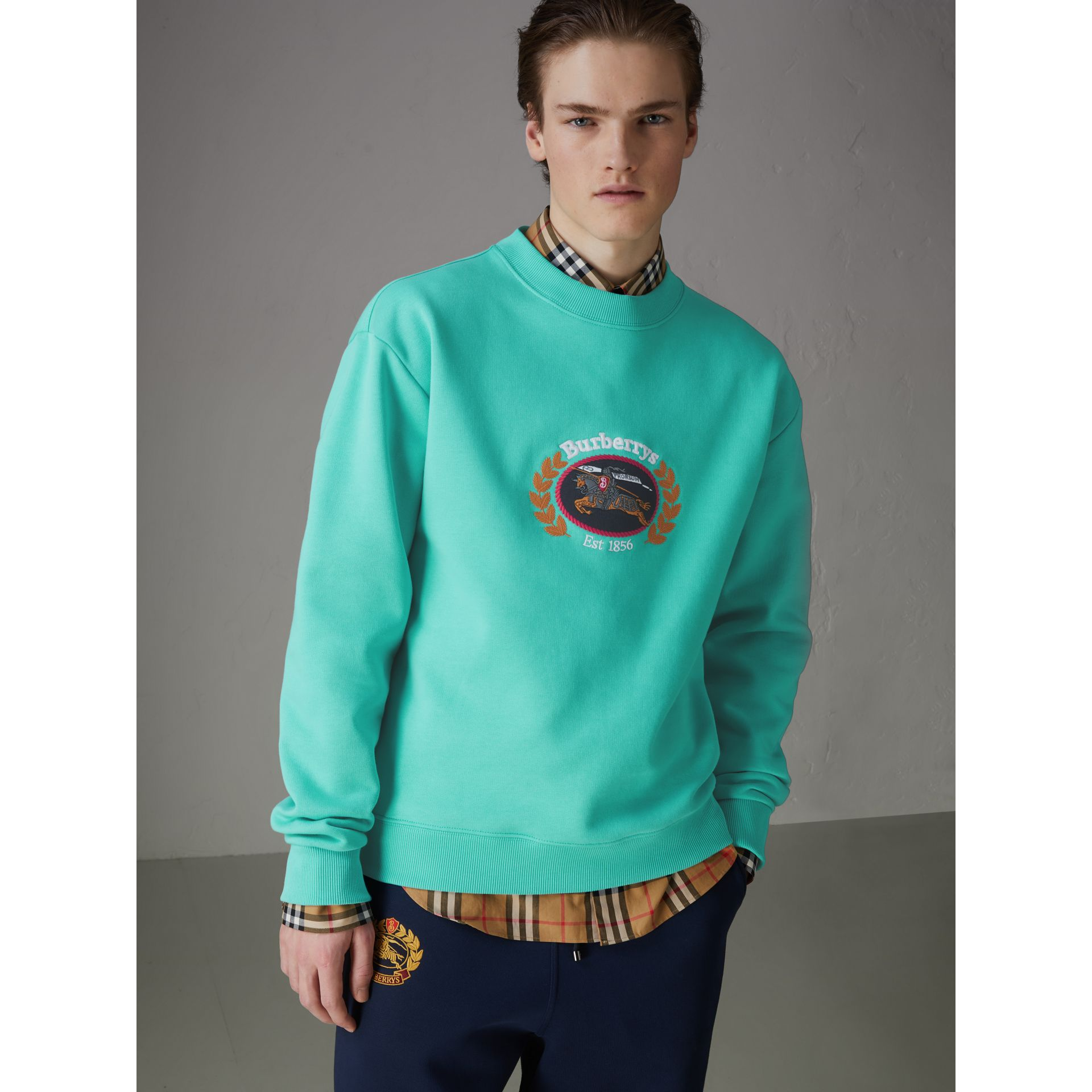 Reissued Jersey Sweatshirt in Aqua - Men | Burberry Singapore - gallery image 4