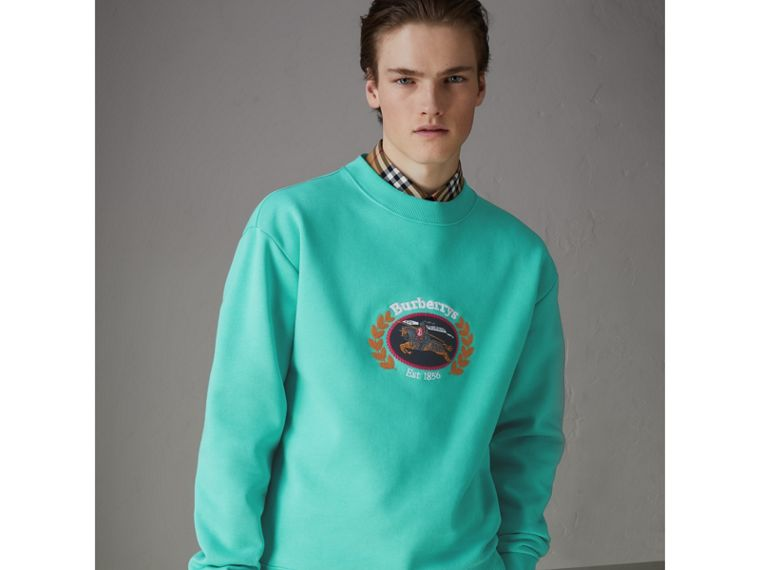 Sweat-shirt en jersey revisité (Aqua) - Homme | Burberry Canada - cell image 4
