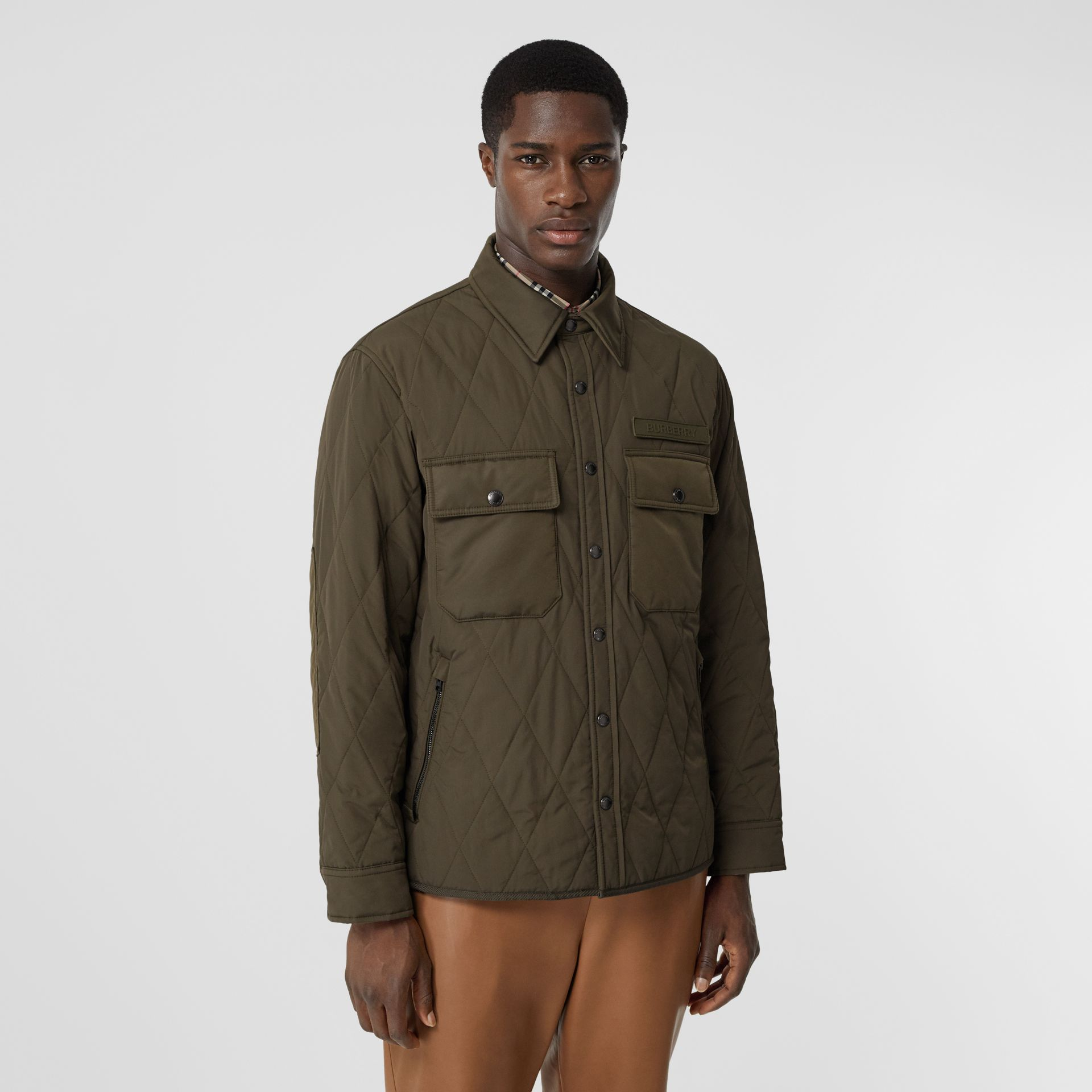 Quilted Nylon Thermoregulated Overshirt in Dark Olive Green - Men | Burberry - gallery image 7