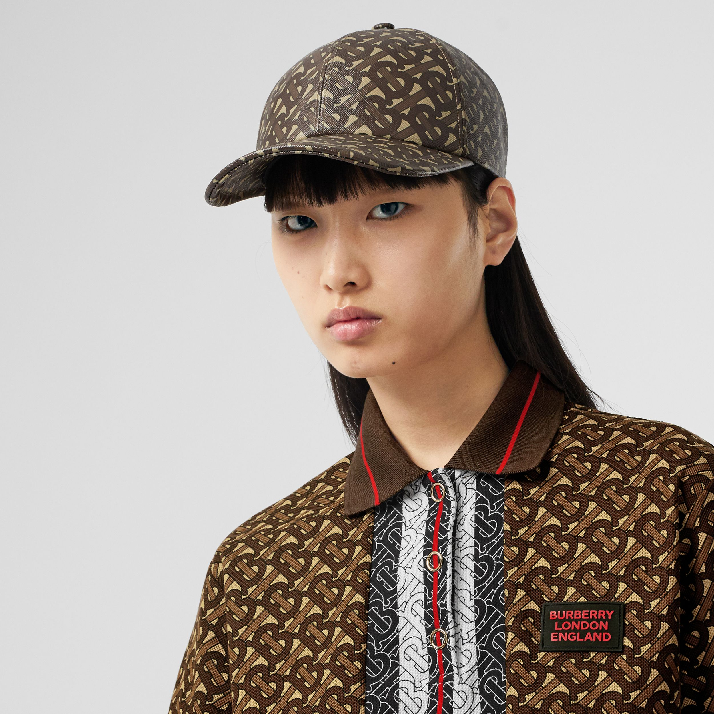 Monogram Stripe Print Cotton Oversized Polo Shirt in Bridle Brown - Women | Burberry Australia - 4