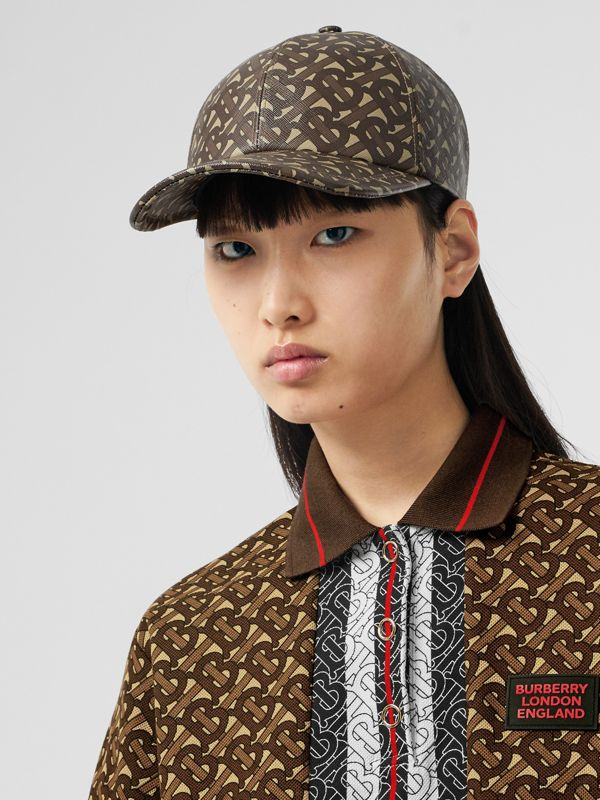 Monogram Stripe Print Cotton Oversized Polo Shirt in Bridle Brown - Women | Burberry - cell image 3