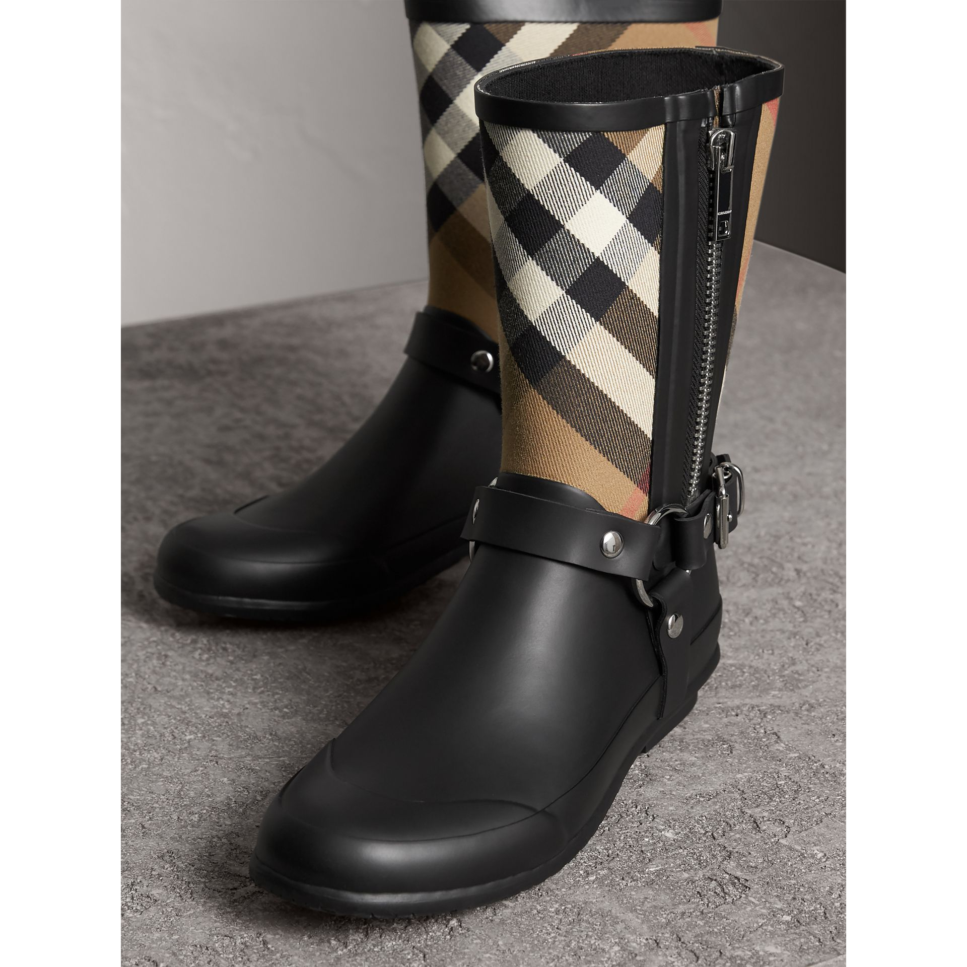 Buckle and Strap Detail Check Rain Boots in House Check/black - Women | Burberry - gallery image 4