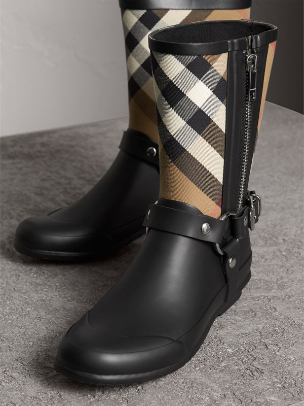 Buckle and Strap Detail Check Rain Boots in House Check/black - Women | Burberry - cell image 3