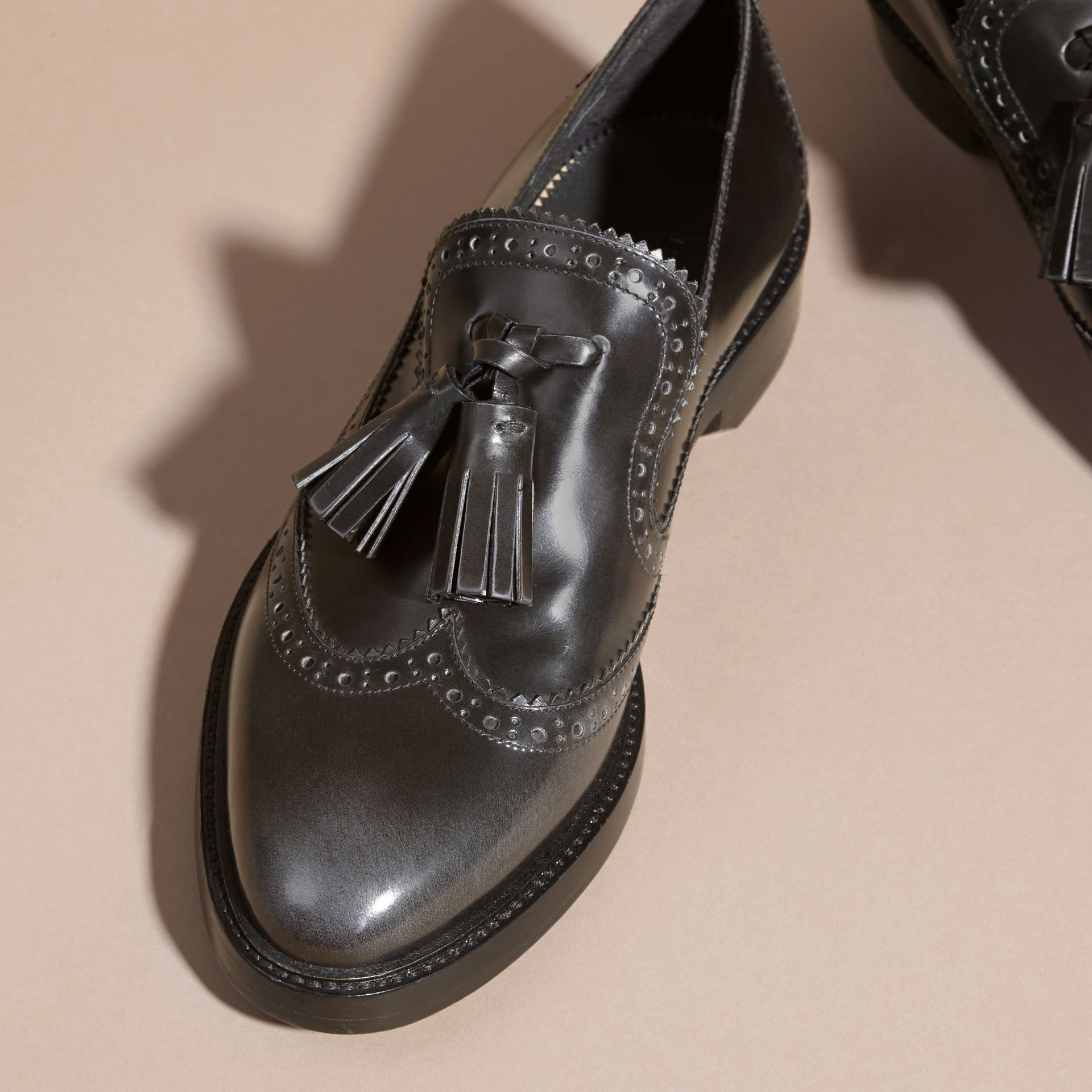 Ink grey Dégradé Tassel Detail Leather Loafers Ink Grey - gallery image 3