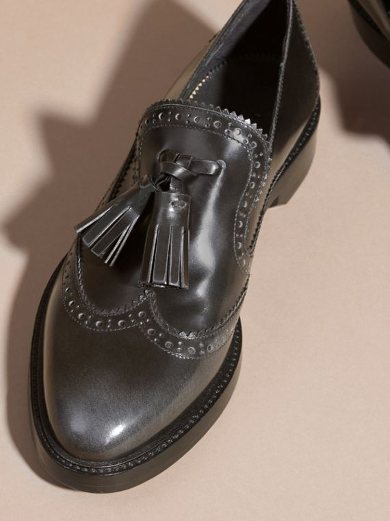 Ink grey Dégradé Tassel Detail Leather Loafers Ink Grey - cell image 2
