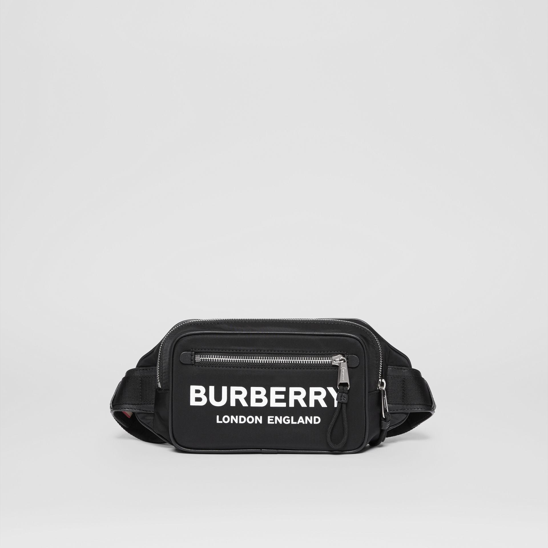 Logo Print Nylon Bum Bag in Black | Burberry - gallery image 0