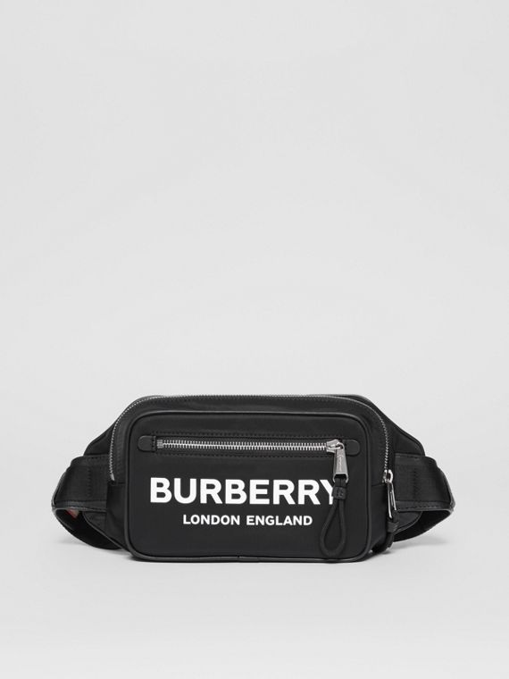Logo Print Nylon Bum Bag in Black