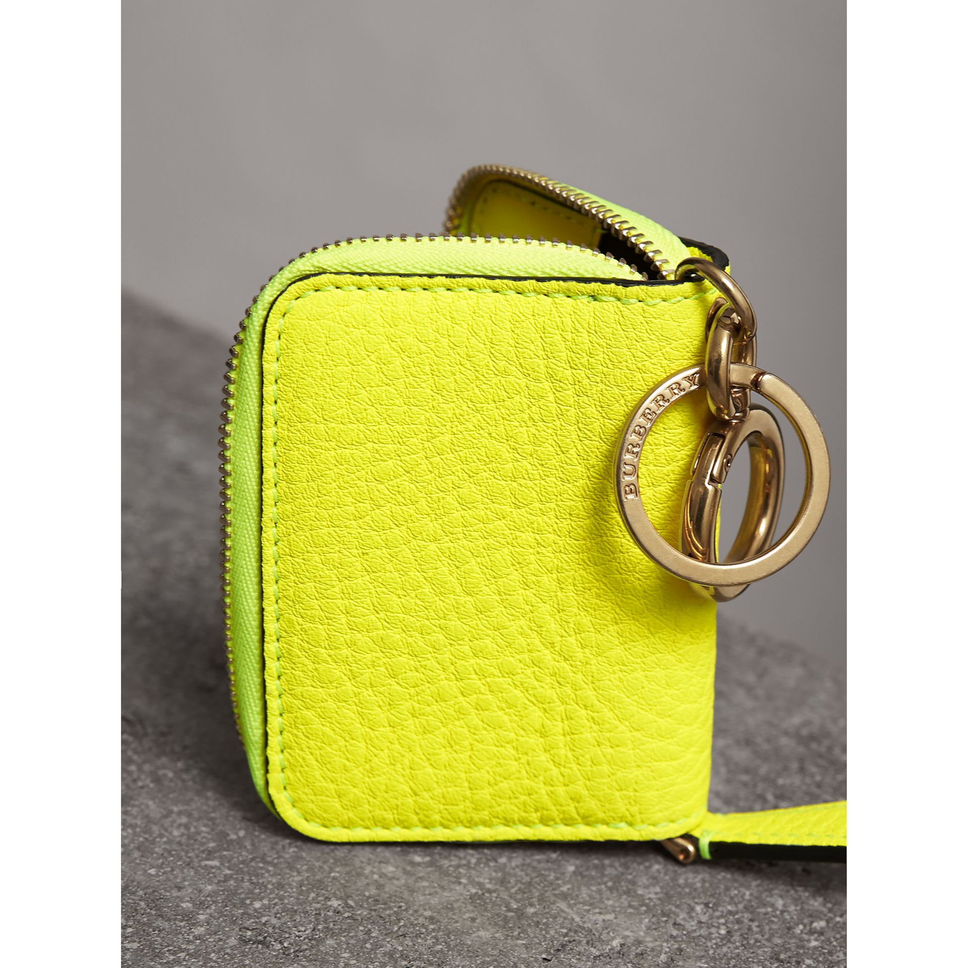 Embossed Leather Notebook Charm in Bright Yellow | Burberry - gallery image 2