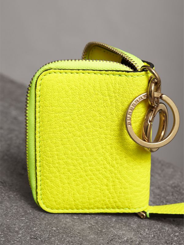Embossed Leather Notebook Charm in Bright Yellow | Burberry - cell image 2