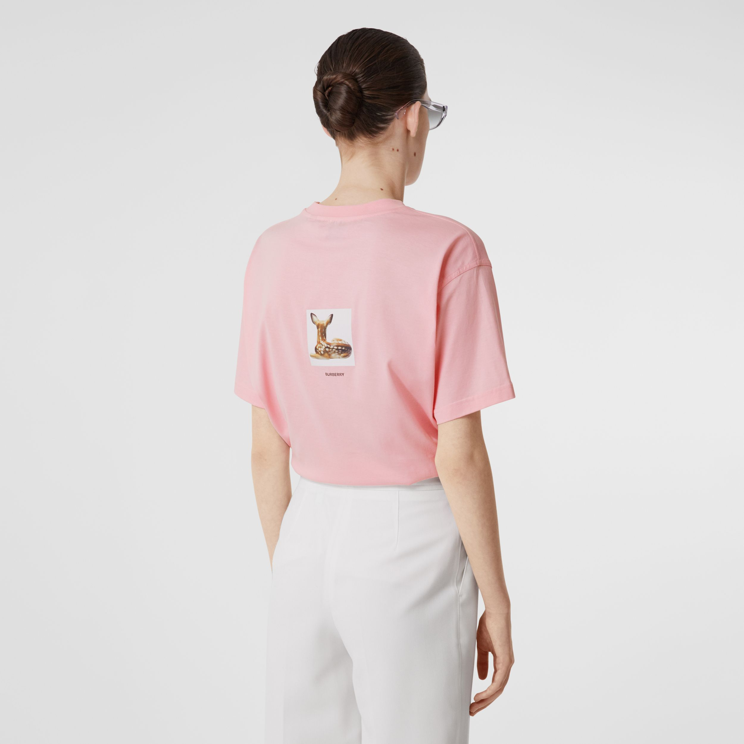 Deer Print Cotton T-shirt in Candy Pink - Women | Burberry - 3